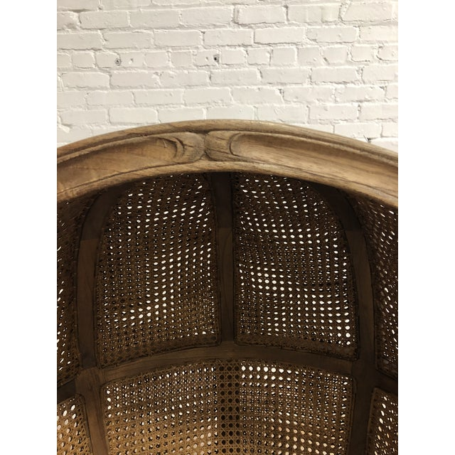 Brown Porters Style Balloon Caned Chair For Sale - Image 8 of 13
