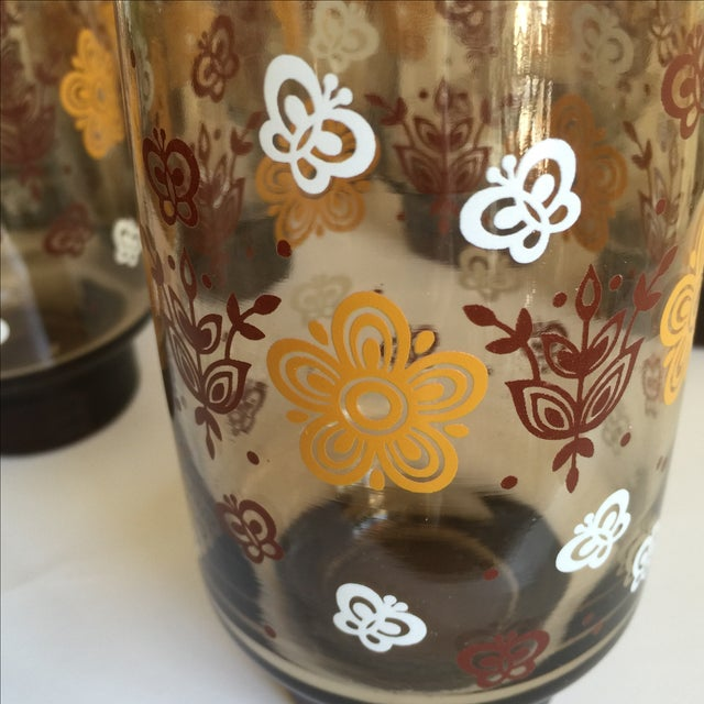 Mid-century Smoky Butterfly Glasses - Set of 8 - Image 7 of 9