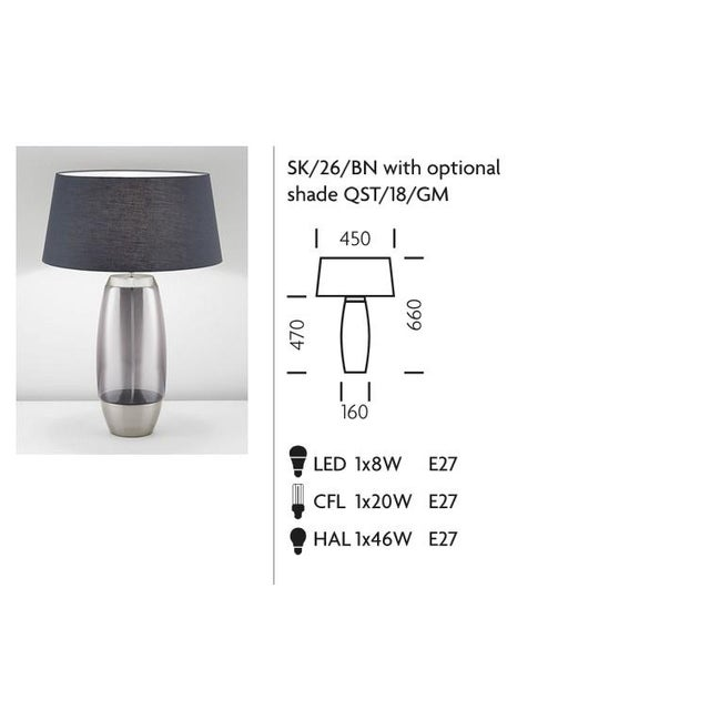 Mid-Century Modern Stockholm Brushed Nickel Lamp With Smoke Glass For Sale - Image 3 of 4