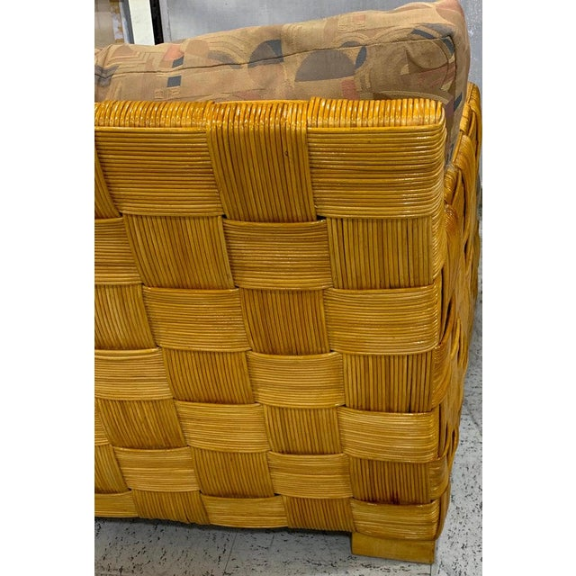 "Wood Donghia Woven Rattan ""Block Island"" Sofa by John Hutton For Sale - Image 7 of 8"
