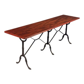 English Bistro or Console Table of Cast Iron with Wooden Top For Sale