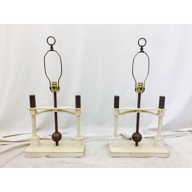 Vintage Mid-Century Modern Art Deco Lamps - a Pair For Sale - Image 5 of 10