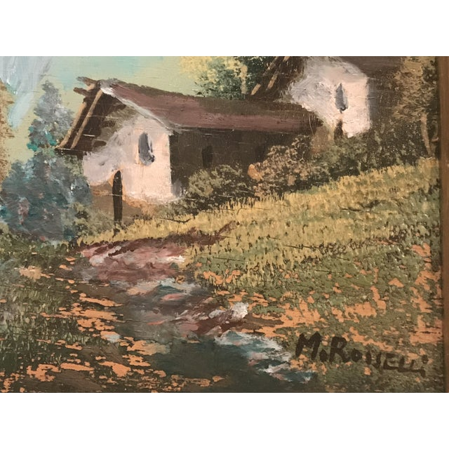 Vintage Mid-Century M. Rosselli Framed Oil on Canvas Landscape Painting For Sale In Houston - Image 6 of 11