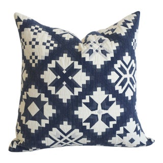 Schumacher Folk Art Quilted Pillow Cover 16x16 For Sale