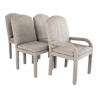 Milo Baughman Style Mid Century Grey Parsons Chairs - Set of 4 For Sale