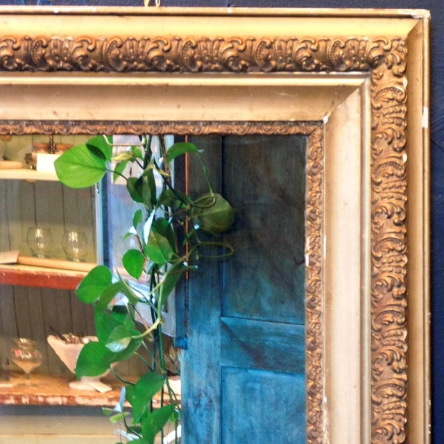 Shabby Chic Antique Early 20th Century Gold Chippy Mirror For Sale - Image 3 of 6