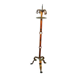 Italian Baroque Gothic Tiger Lily Flower Wrought Iron Candle Stand