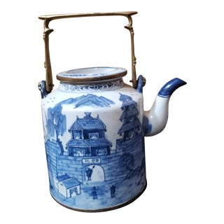 Blue and White Porcelain Tea Pot For Sale