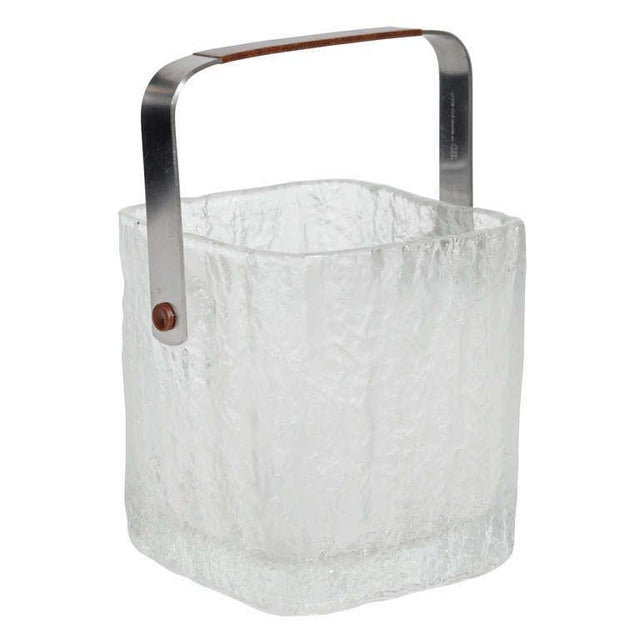 Vintage Ice Bucket With Textured Ice Cube Glass Design For Sale - Image 11 of 11