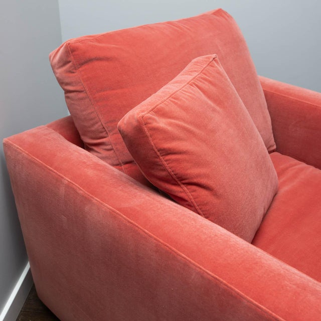 Modern Large Tuxedo Arm Swivel Club Chair in Salmon Ultra Suede For Sale - Image 3 of 9