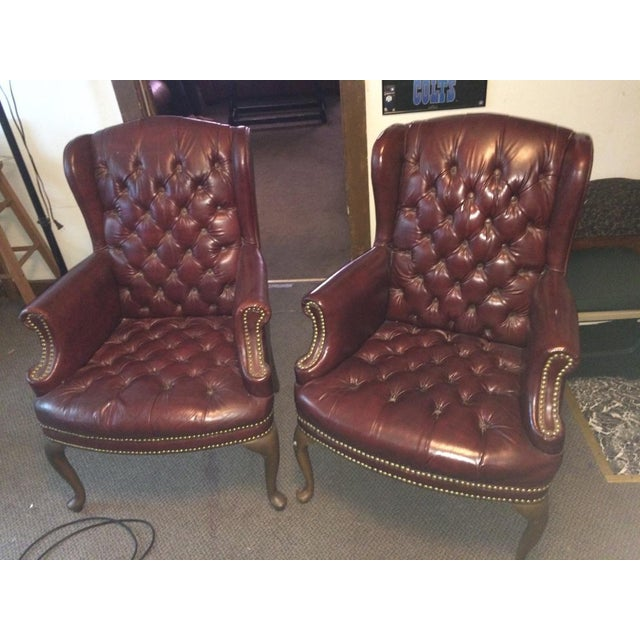 High Point Leather Wingback Chairs - Set of 2 - Image 5 of 11