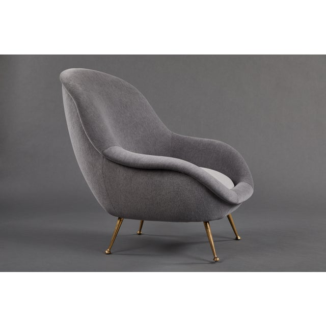 Gray An Elegant Italian Suite of a Petite Sofa and Two Armchairs With Matching Ottomans For Sale - Image 8 of 13