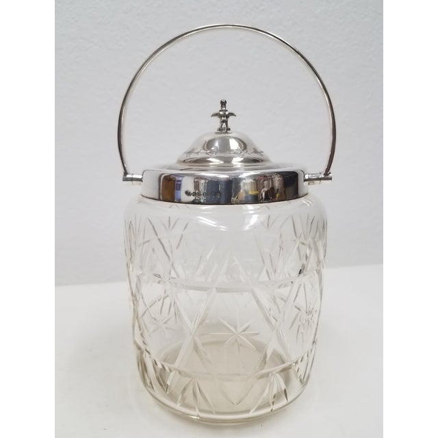 Antique English Crystal Glass Biscuit Jar For Sale In Dallas - Image 6 of 6