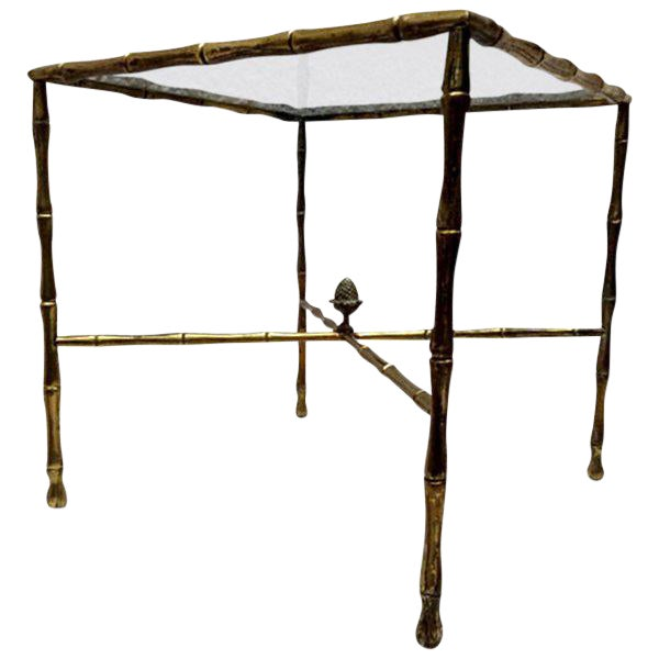 Custom Faux Bamboo Brass Side Table by Arturo Pani For Sale
