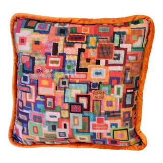 Mid-Century Modern Graphic Square Pillow For Sale