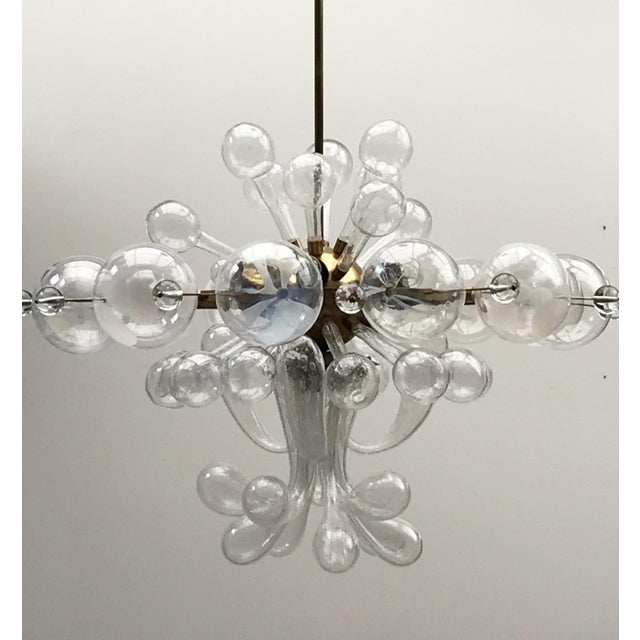 1960s Czech Republic Glass Suspension Chandelier For Sale - Image 12 of 12
