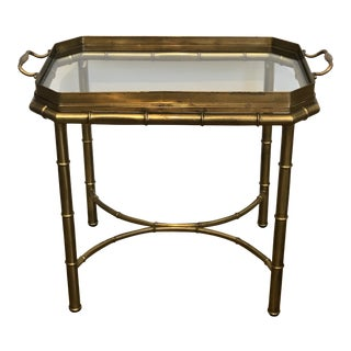 Vintage Mastercraft Brass Bamboo Motif Tray Table For Sale