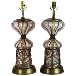 Mid-Century Italian Caged Glass Bubble Lamps - A Pair For Sale