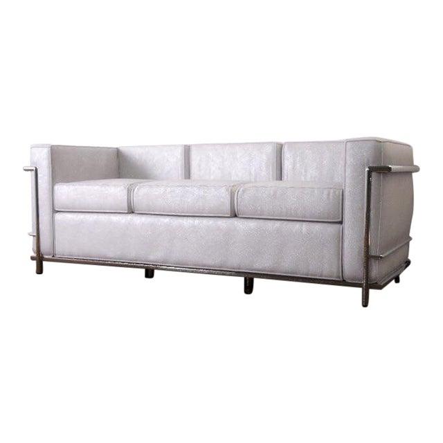 Cassina Le Corbusier Lc2 3 Seat Ivory Leather Sofa | Chairish