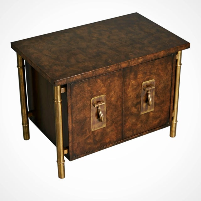 1960s 1960s Mastercraft Burled Wood & Brass Side or End Table by William Doezema For Sale - Image 5 of 11