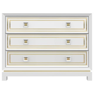 Customizable Bleached Walnut Dresser with Brass Inlay / 1702 For Sale