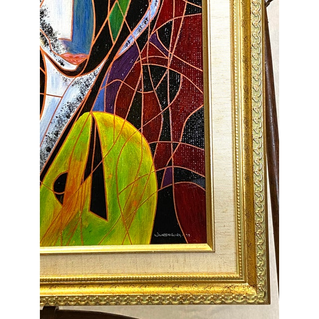 Beautiful Vintage Oil on Canvas Signed Abstract Cubism Gold Frame For Sale - Image 4 of 8