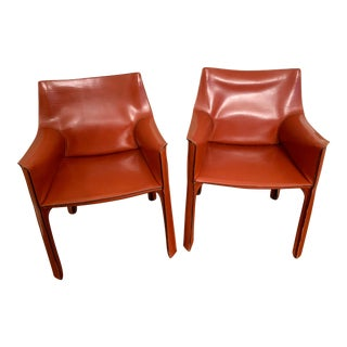 1970s Vintage Mario Bellini for Cassina Leather Cab Chairs - a Pair For Sale
