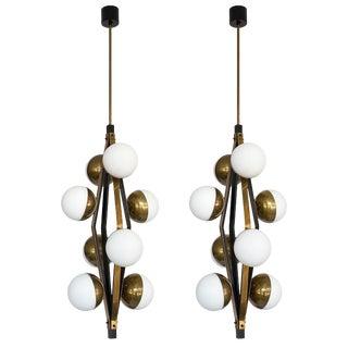Pair Stilnovo Brass Eight Globe Pendant Chandeliers For Sale
