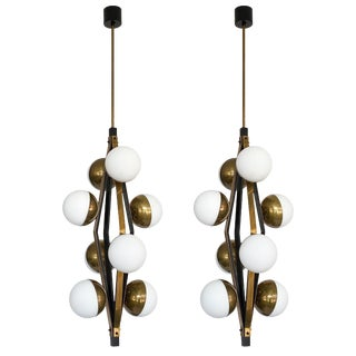 Stilnovo Brass Eight Globe Pendant Chandeliers - a Pair For Sale