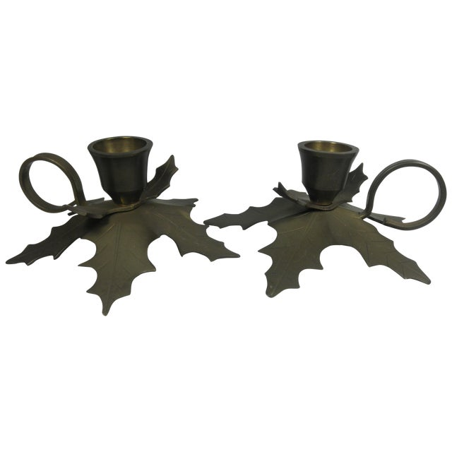 Brass Holly Candle Holders - A Pair For Sale