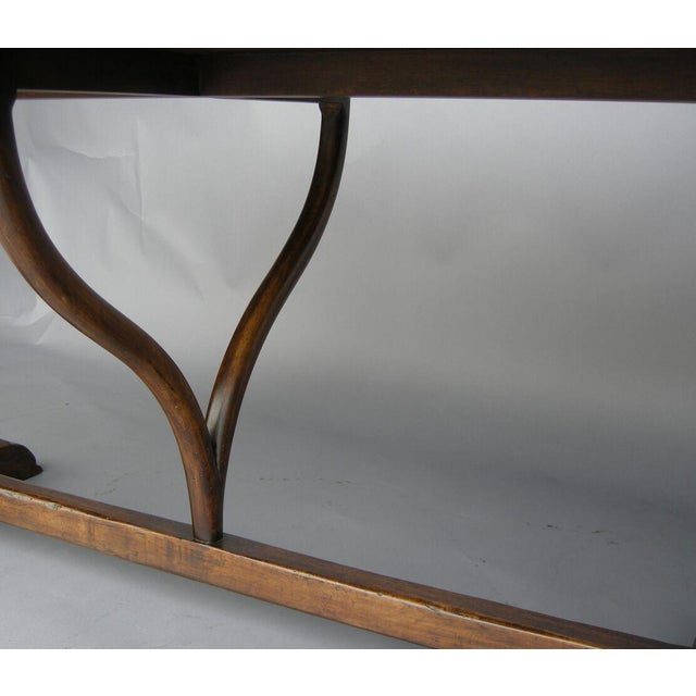 Custom Walnut Wood Oval Table With Wishbone Stretcher For Sale - Image 4 of 6