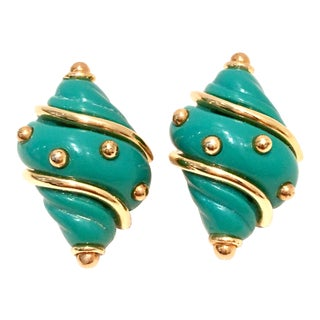 20th Century Kenneth J Lane Gold & Enamel Snail Form Earrings For Sale