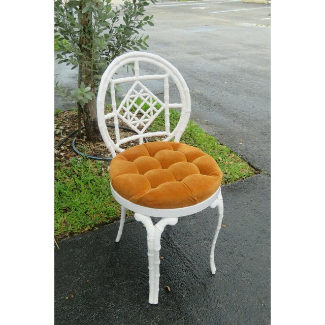 1970s Vintage Hollywood Regency Painted Iron Faux Bamboo Side Chair Stool by Kessler For Sale - Image 12 of 13