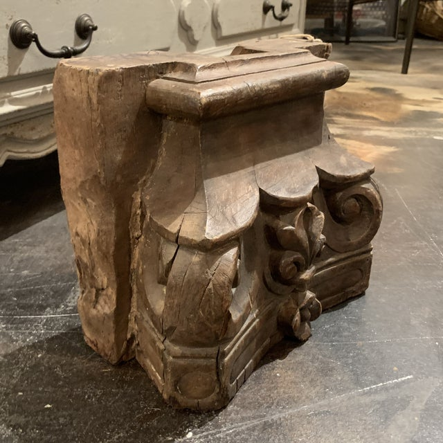 Wood English Colonial Indian Carved Teak Column Base Architectural Element C 1880 For Sale - Image 7 of 13