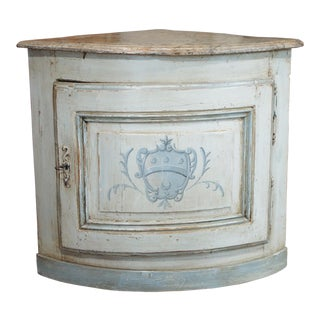 18th Century Small French Painted Corner Cabinet For Sale