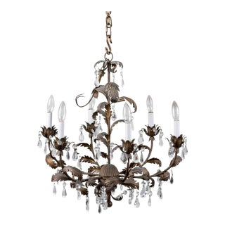 Gilt Metal & Crystal Six-Light Chandelier