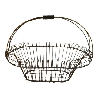 Rustic Farmhouse Large Oval Wire Basket with Fixed Handle & Curlicue Trim For Sale