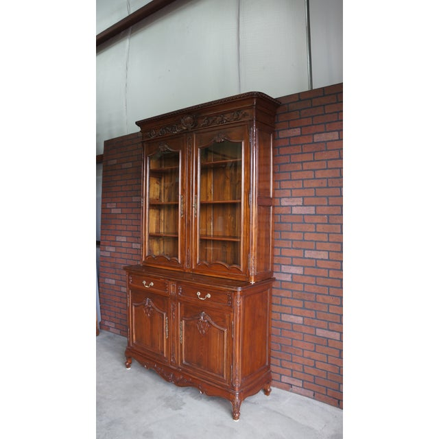 French Provincial Display Cabinet Hutch For Sale - Image 10 of 11