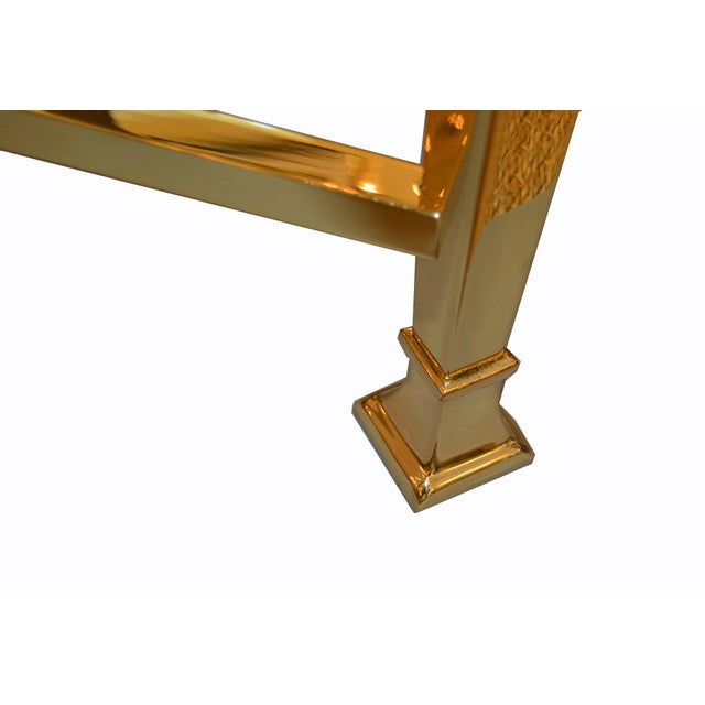 Hollywood Regency French Maison Jansen Brass Tables With Glass Tops, Pair For Sale - Image 10 of 12
