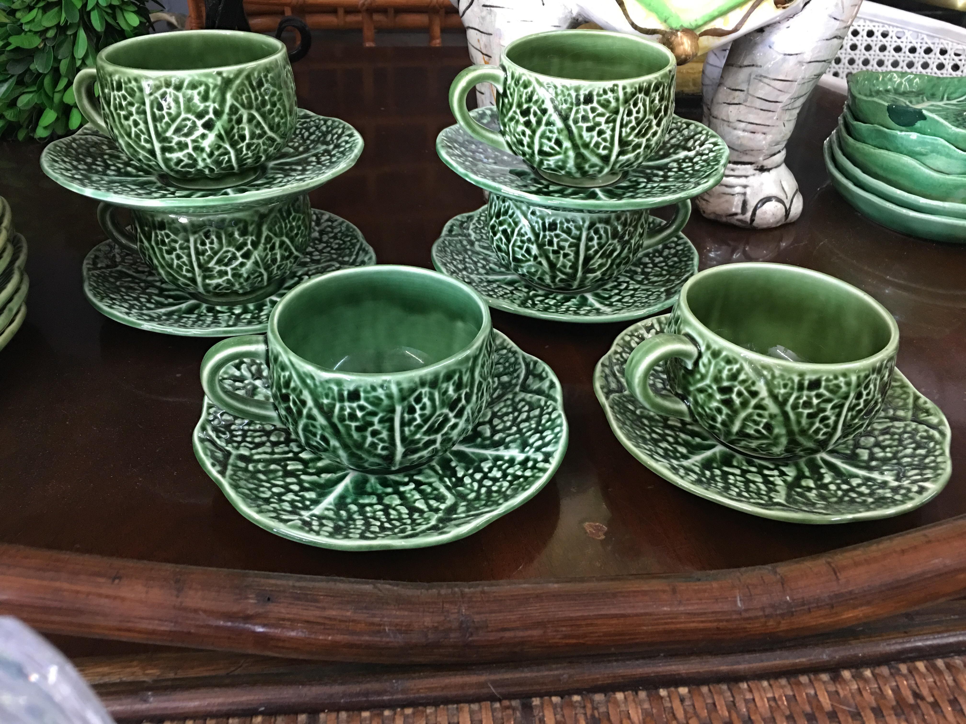 Portuguese Majolica Tea Coffee Cups \u0026 Saucers - Set of 6 - Image 2 ...  sc 1 st  Chairish & Portuguese Majolica Tea Coffee Cups \u0026 Saucers - Set of 6 | Chairish