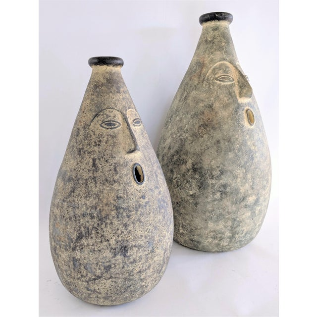 Large Whimsical Ceramic Stoneware Face Vessels - a Pair For Sale - Image 4 of 12