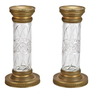 19th Century Pair Bronze and Cut Crystal Candlesticks or Vases