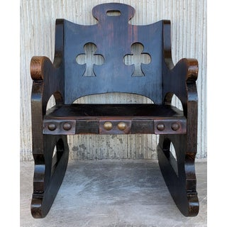20th Century Carved Walnut Spanish Rocking Chairs Featuring Ace of Clubs Preview