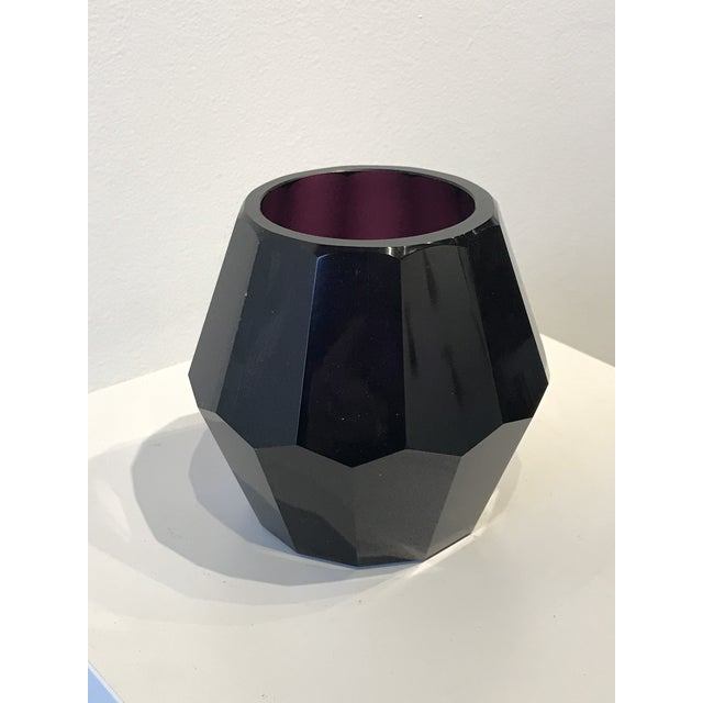 Art Deco Faceted Amethyst Glass Vase For Sale - Image 4 of 4