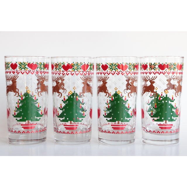 8-Bit Pixel Style Christmas Glasses - Set of 4 For Sale - Image 5 of 5