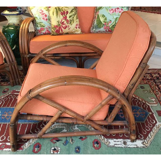 Vintage Mid Century Rattan Set Chairs & Loveseat For Sale - Image 10 of 13