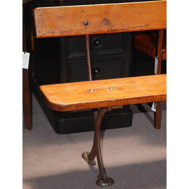 Mid-Century Modern English Bench in Iron and Wood, Circa 1890 For Sale - Image 3 of 8
