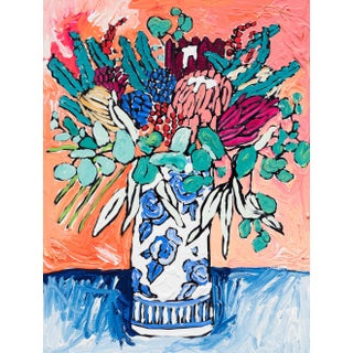 Protea Bouquet in Delft Vase on Orange and Blue Still Life Painting For Sale
