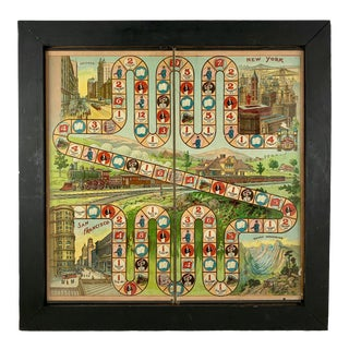 1900s Chromolithograph 'A Trip With Phoebe Snow' Train Trip Children's Game Board, Framed For Sale