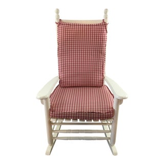 Vintage Custom Made White Painted Wood Rocking Chair